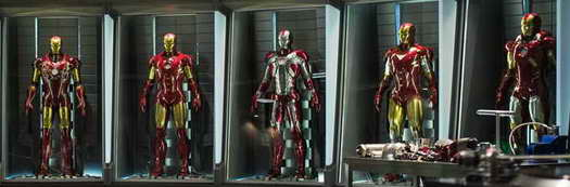 IRON MAN 3 movie update and new image: armors in workshop