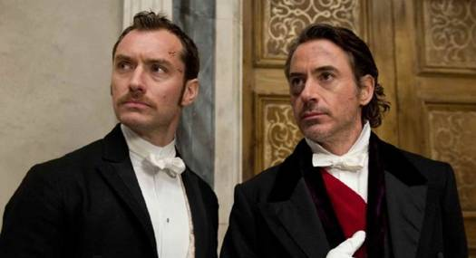 Jude Law and Robert Downey Jr. in Sherlock Holmes A Game of Shadows
