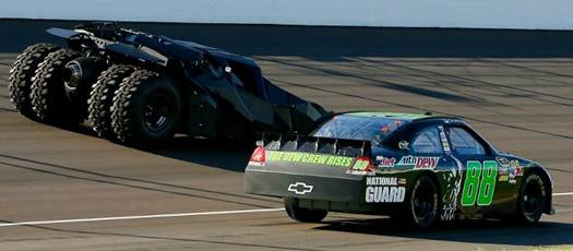 'The Dark Knight Rises' at NASCAR w Dale Earnhardt Jr in Michigan HMS 01