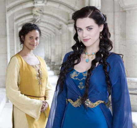 Angel Coulby and Katie McGrath in Merlin on Syfy