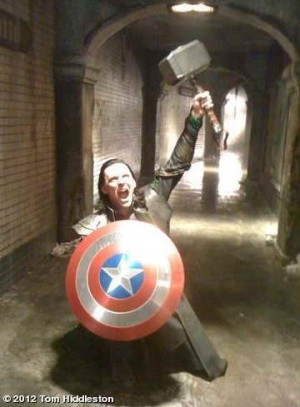 OK, Loki steals everyone's things. Wait till you see him in Iron Man's suit!  LOL