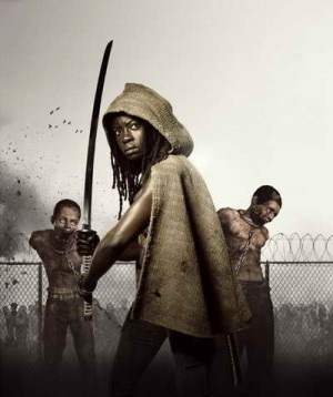 Michonne played by Danai Gurira in season three of The Walking Dead