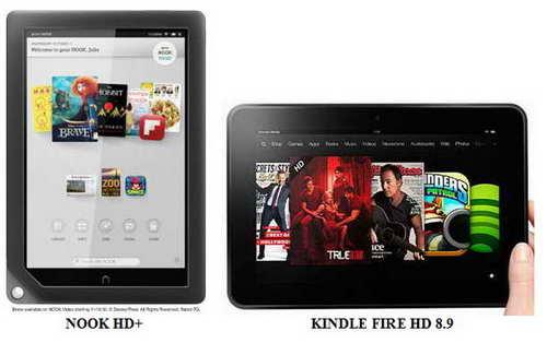 Nook and Kindle Fire E-reader comparison