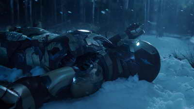 An Iron Man 3 movie trailer still