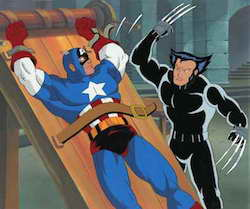 Marvel Animation Cel with Captain America and Wolerine