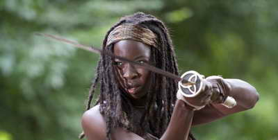 "a still of Danai Gurira in The Walking Dead, episode recap ""Walk with Me"""