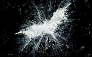 """Dark Knight Rises"" promo with Superman symbol"