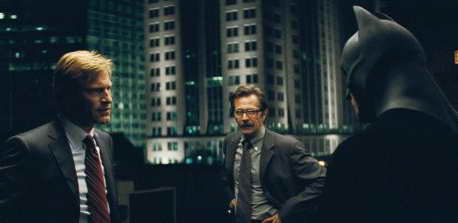 Gary Oldman, Christian Bale and Aaron Eckhart in The Dark Knight movie