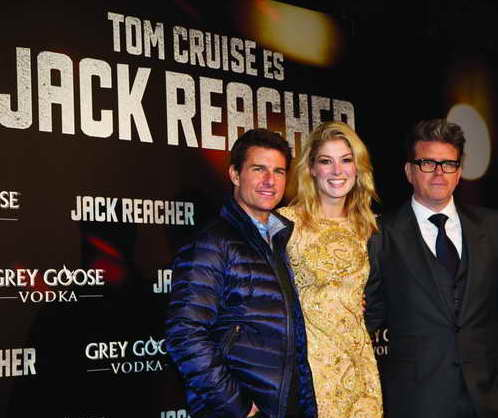 Tom Cruise, Rosamund Pike and director Christopher McQuarrie at Madrid Spain Jack Reacher Premiere 105