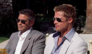 still of Brad Pitt and George Clooney in Ocean's Eleven