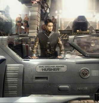 production still of Luke Pasqualino in 'Battlestar Glactica Blood and Chrome' tv movie