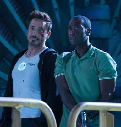 Don Cheadle and Robert Downey Jr. in Iron Man 3