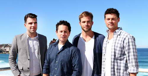 Chris Pine, Karl Urban, Zacharay Quinto and J.J. Abrams at the &quot;Star Trek Into Darkness&quot; photo call on April 22, 2013 in Sydney, Australia.