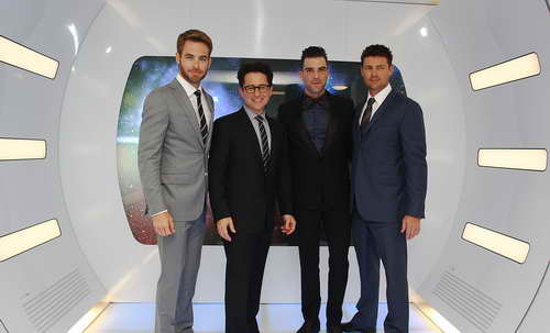 Chris Pine, Karl Urban, Zacharay Quinto and J.J. Abrams
