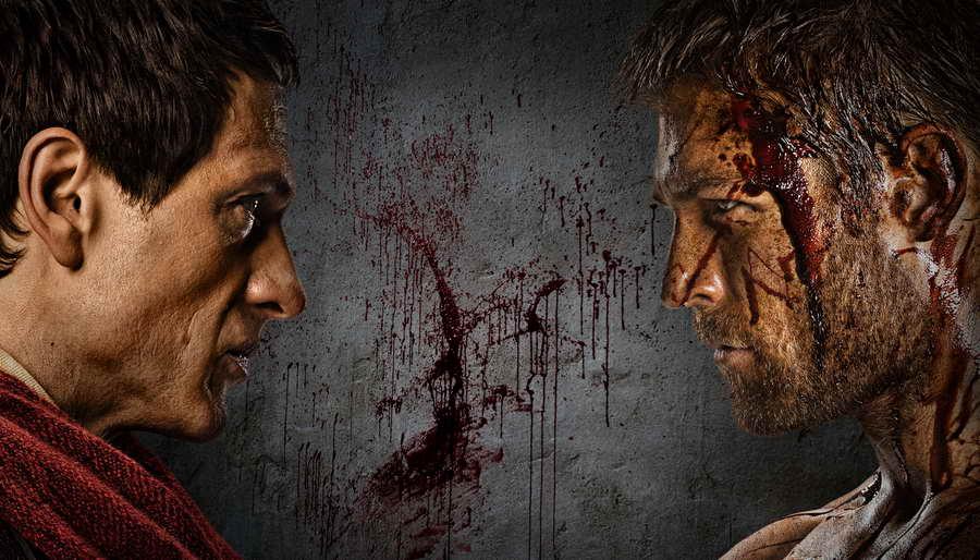 promo still - Crassus+(Simon+Merrells),+Spartacus+(Liam+McIntyre)