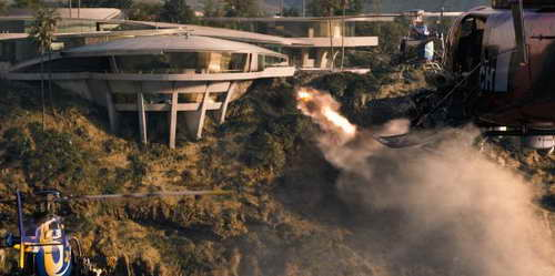 Iron Man 3 movie still of Mandarin Choppers attacking Stark mansion
