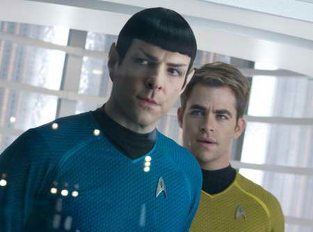 Zachary Quinto and Chris Pine in Star Trek Into Darkness movie