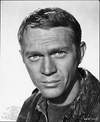 still of Steve McQueen in The Great Escape