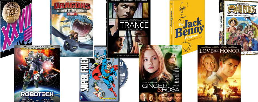 MST3K, Trance, Robotech, Super Friends, Ginger and Ross, Love and Honor on DVD