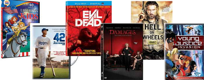 On DVD Liberty Kids, 42, Evil Dead, Damages, Hell on Wheels, Young Justice