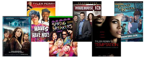 The Host, Tyler Perry, Spring Breakers, Warehouse 13, Legend of Korra dvds and blu-rays