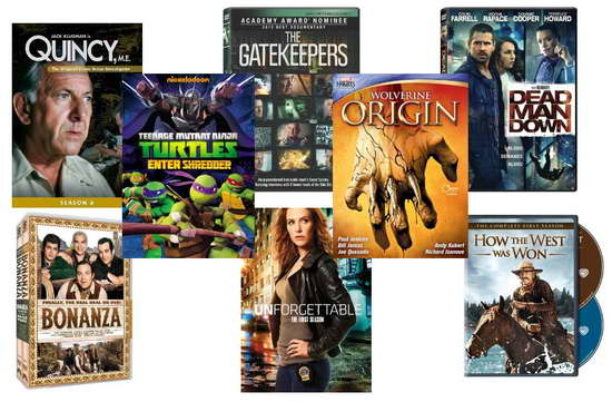 quincy, gatekeepers, ninja turtles, dead man down, wolverine, unforgettable, bonanza, how the west was won dvds