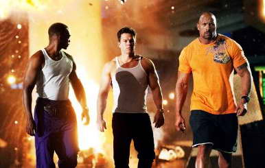 Mark Wahlberg, Dwayne Johnson and Anthony Mackie in 'Pain & Gain'