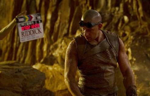 Vin Diesel in 'Riddick,' a behind the scenes moment