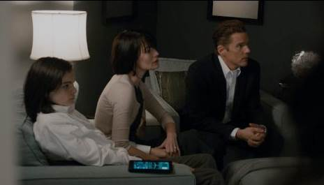 Ethan Hawke, Lena Headey and Max Burkholder in The Purge