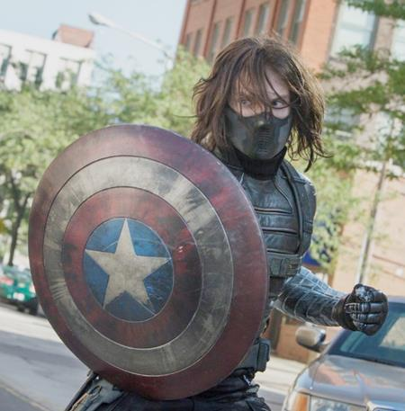Bucky using Cap's SHIELD