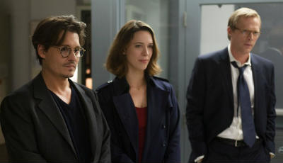 Still of Johnny Depp, Paul Bettany and Rebecca Hall in Transcendence, a review